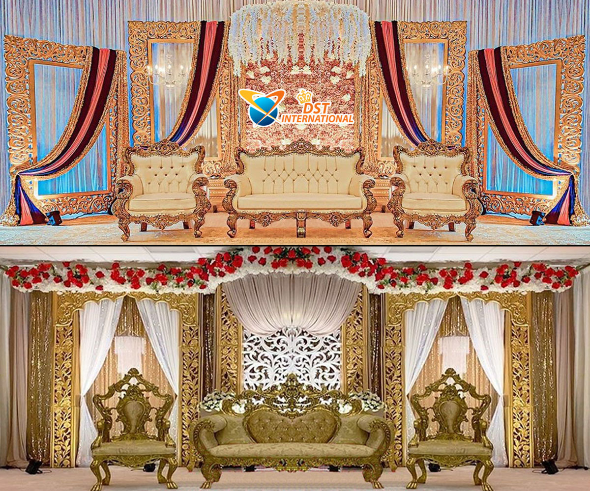 Luxury Golden Carved Wedding Stage Decor - Wedding Stages