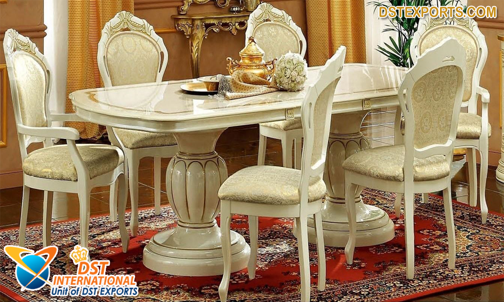 Cream Marble 6 Seater Dining Table Set Wedding Stages